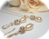 Pearl drop necklace and earring set - Bridal jewelry - Gold filled - Gold over sterling silver ear wires - High quality - Bridesmaids -Gift