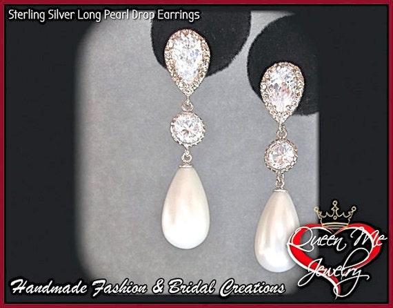 Pearl drop earrings ~ Sterling silver posts ~  Long ~ Elegant ~ Bridal Jewelry ~ Brides earrings  ~ High quality  ~ BEST SELLER ~ Classic ~