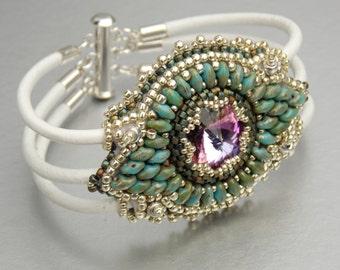 Marrackesch,  Bead Embroidery, Bracelet , Statement cuff, Seed bead bracelet, Skinned bracelet , Silver, Turquoise, White,