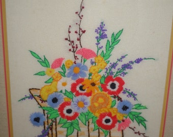 Crewel Work/FLORAL/VINTAGE/FRAMED/Mid Century/Colorful/Flowers in a Basket/Glass