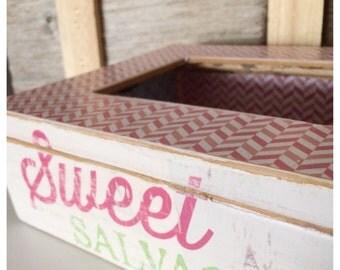 Pink Trinket Box, Candy Stash, Desk Organizer, White Shabby Chic Chevron