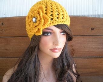 Womens Hat Crochet Hat Winter Fashion Accessories Women Beanie Cloche Winter Hat with Crochet Flower - Choose color