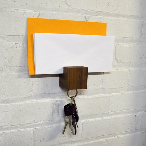 Items similar to kube letter wall mounted magnetic key and letter holder on etsy - Wall mounted letter holder and key rack ...