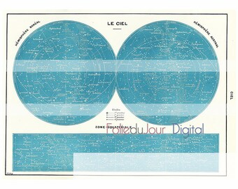 """Constellation galaxy astrologic old illustration Digital file colored French dictionary plate - 8.5 x 11"""" - Instant Download"""