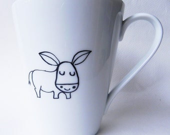 Donkey, cute hand painted white porcelain mug - baby shower gift - custom personalized gift with name date initials