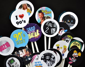 20 Totally Awesome 90s Cupcake Toppers, 90s Theme Party cake, I love the 90s, 90s party, 90s party decorations, 90s birthday, 90s cake