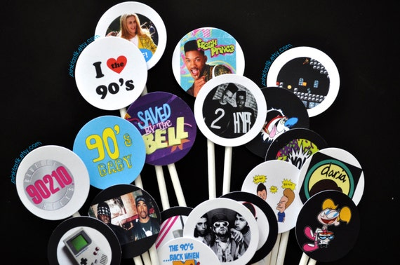 20 totally awesome 90s cupcake toppers 90s theme party cake for 90s decoration
