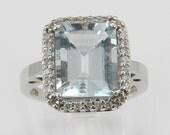 RESERVED Diamond and Emerald Cut Aquamarine Aqua Halo Cocktail Ring 14K White Gold Size 7
