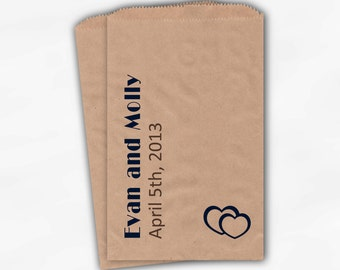 Personalized Wedding Favor Bags for Navy and Brown Candy Buffet - Names and Date Customized Kraft Paper Bags with Hearts (0006)