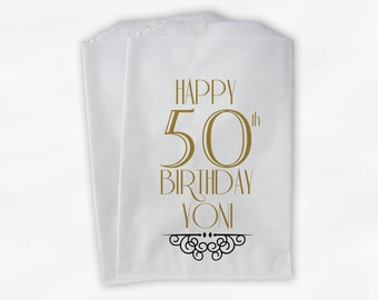 50th Birthday Personalized Candy Buffet Bags - Vintage Milestone Birthday Custom Favor Bags in Black and Gold - 25 Paper Treat Bags (0118)