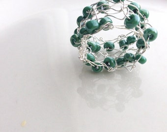 Beaded Statement Ring Green Silver Knitted Wire Ring