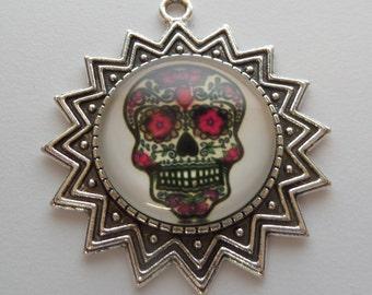 41mm Dia De Los Muertos Pendants, (Z14) Skull, Day of the Dead Pendants