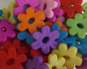 20mm, 25CT Vibrant Colored Floral Beads, Acrylic Beads, J8