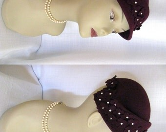 True Vintage 1960s Hat Chandra Plum Cloche Hat with Rhinestones