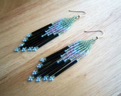 Pastel Green and Pink Seed Beaded Earrings - Hand Made in USA