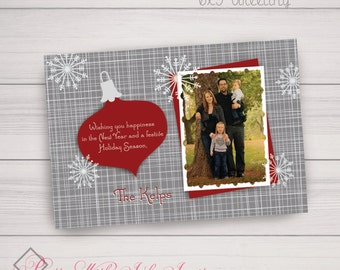 Modern Ornament & Snowflake Die Cut Photo Holiday Greeting (red/grey/white)