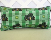 John Deere Pillow in Green Plaid with Large Tractors