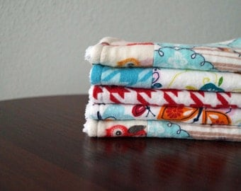 Baby Girl Wash Rags - Butterflies, Owls, Houndstooth - Aqua, Red & Orange