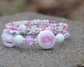 Think Pink - Beaded, Bangle Bracelet - Breast Cancer Awareness - Pink Ribbon - Jamaica
