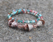 I'd Rather Be By The Sea - Bangled Bracelet - Coral and Teal - Seashell - Jamaican Ministry - Layered Look