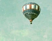 "Hot Air Balloon - Vintage Inspired Mint Aqua Blue Green  - 5 x 7"" Fine Art Photo - READY To SHIP - Free US Shipping"
