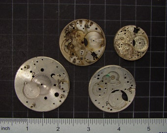 4 Vintage pocket watch movement brass and steel round plates with small gears and engraved patterns Steampunk Art Supplies 3529