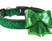 "Dog Collar Bow Add-On Green Dog Bow FOR 1.5"" BUCKLE COLLAR"