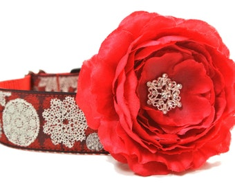 Dog Collar Flower Add-on Red Christmas Flower with Snowflake Center
