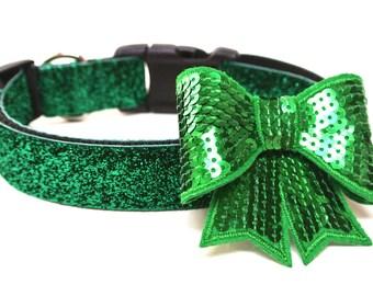 Dog Collar Bow Add-On Green Dog Bow