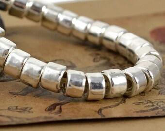 20 Mykonos Mini Tube - 6x4mm Fine Silver - Greek Ceramic Beads