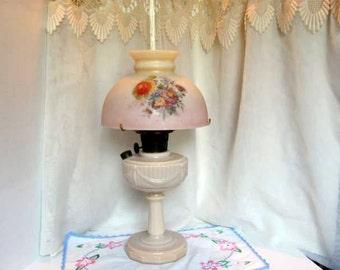 Aladdin Oil Lamp with Fenton Shade / Lincoln Drape 1940s Oil Lamp by Aladdin
