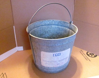 Galvanized Bucket #10 For the Farm or Garden Still has Original Label