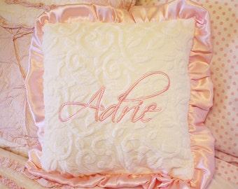 Nursery pillow, minky pillow, ruffle pillow, personalized pillow, pillow with name, baby pillow, nursery chair pillow, baby girl, baby gift