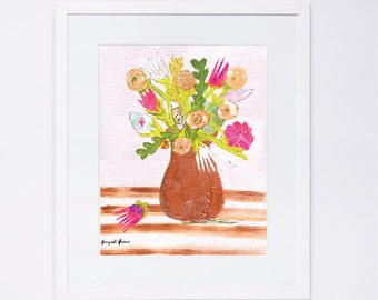Pink Flowers Whimsical Art