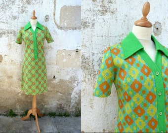 1960 Vintage polyester mod groovy dress size M green orange yellow
