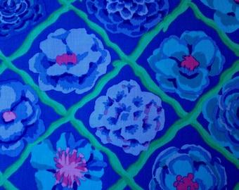 Kaffe Fassett Cotton Fabric Metre Camellia Blue Purple Floral Flowers Trellis 1m
