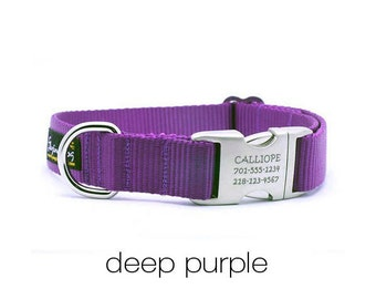 Laser Engraved Personalized Buckle Webbing Dog Collar - Purple