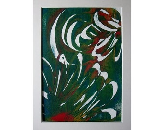 Flowers 1 Original Monoprint Abstract Acrylic Painting 5x7Dark Blue Green Red White