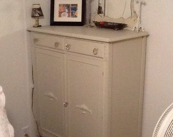 Vintage shabby 6 drawer amoire cabinet off white