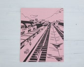 vintage french flash card - train station/gare