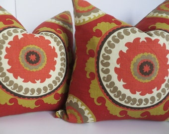 22x22 Suzani Pillow Covers, Mustard Pillow Covers, Taupe Cream Pillow Cover, Red Orange Pillow Cover, Accent Home Pillow