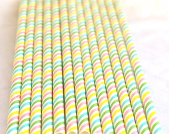 Multi Stripe Pastel Paper STraws----Parties---25ct with Free Printable diy Flags