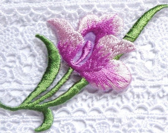 Iron On Patch Applique - Purple Flower Spray