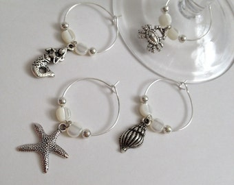 Set of 4 Sea Life Wine Charms - Mother of Pearl Wine Charms - Set of 4 Ocean Life Wine Charms - Set of Wine Charms - Beach Cottage Collectio