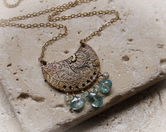 Blue topaz and bronze necklace