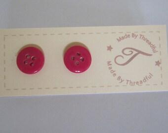 Button Earrings Cute Pink