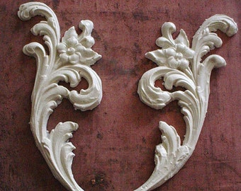 Architectural French Furniture Appliques Floral Swirls Chic Decor Great For Corners Pair 8x5