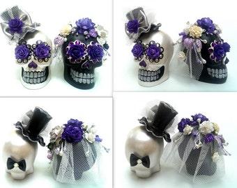 Skull black & white weddings cake topper handmade Crown of purple rose bride and groom