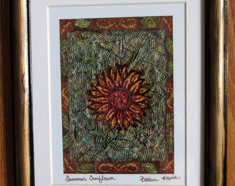 Summer Sunflower - Framed and Matted Giclee Print