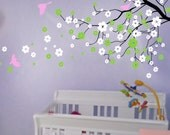Cherry blossom wall decals  tree decals baby nursery kids flower floral nature  girl wall decor wall art- Cherry Blossom Tree